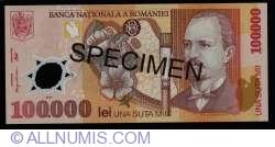 Imaginea #1 a 100000 Lei 2001 SPECIMEN