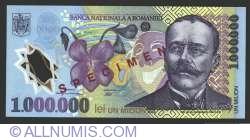 Imaginea #1 a 1000000 Lei 2003 SPECIMEN