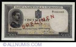 500 Lei 1936 (30. IV.) - SPECIMEN