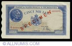5000 Lei 1943 (28. IX.) - SPECIMEN