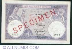 5 Lei 1920 (25. III.) - SPECIMEN