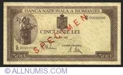 500 Lei 1942 (20. IV.) - SPECIMEN