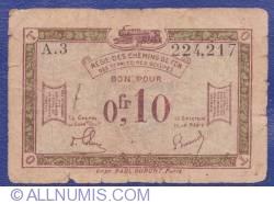 Image #2 of 0.10 Francs 1923 (ND) - Régie des Chemins de Fer des Territoires occupés