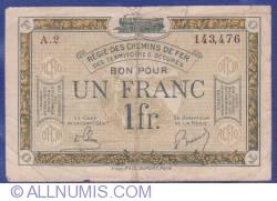 Image #1 of 1 Franc 1923 (ND) - Régie des Chemins de Fer des Territoires occupés