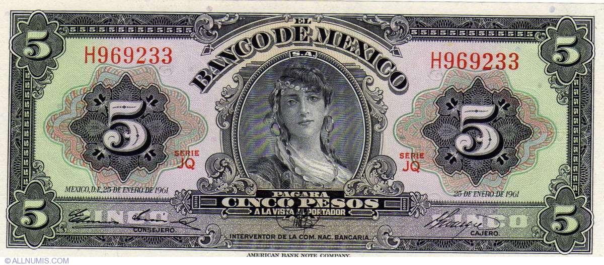 1958 Mexico Banco de Mexico 5 Pesos P#60c  PMG 67 EPQ  .