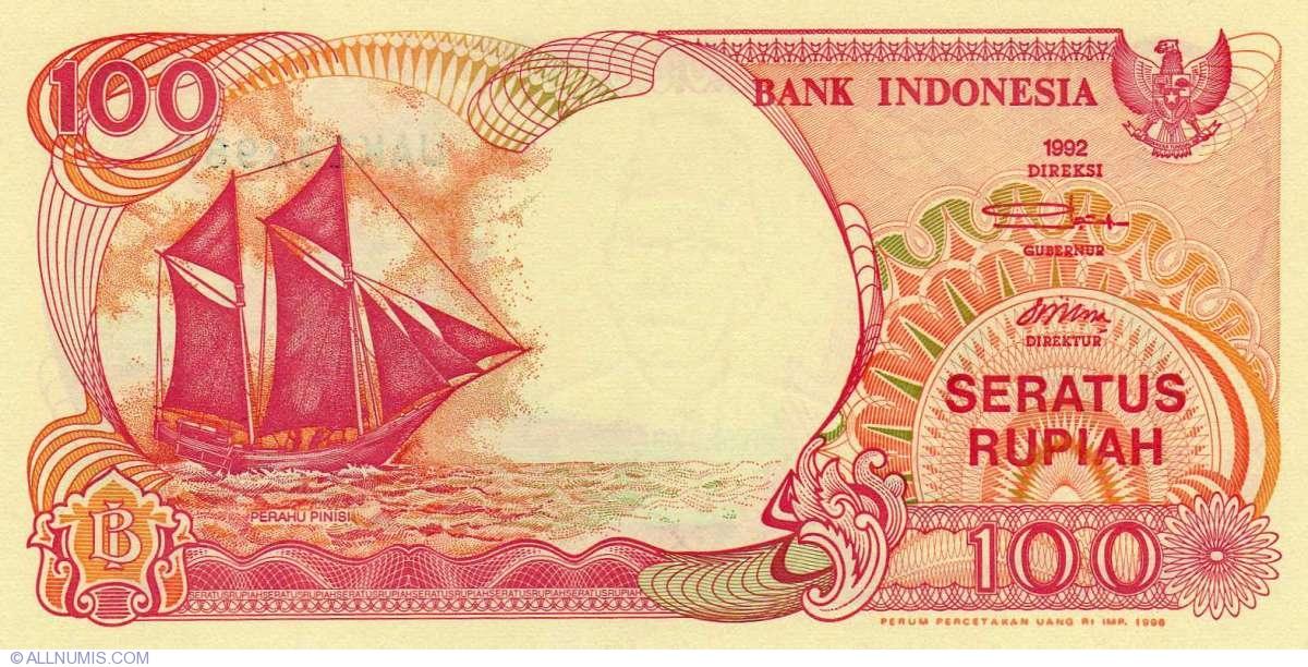 1992 P-127 Sailboat Indonesia 100 Rupiah UNC /> Volcano