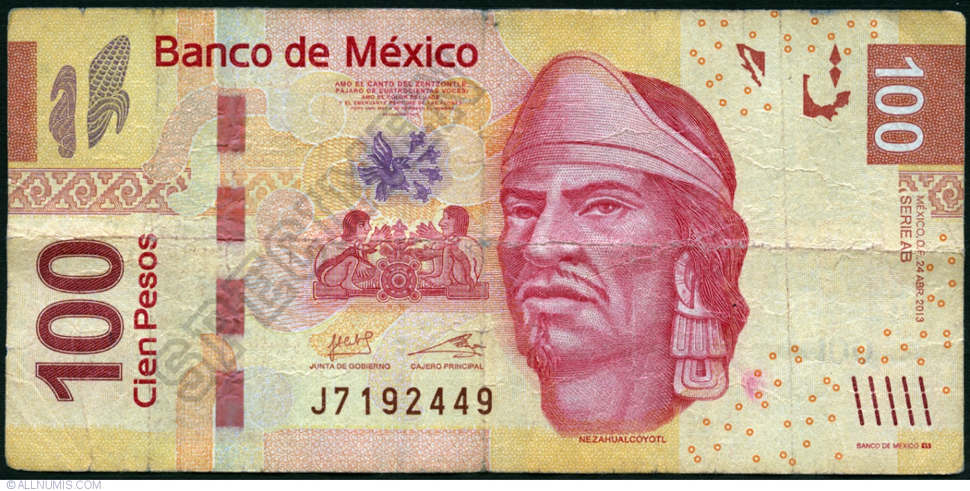 Prefix K UNC Mexico Banknote p124 100 Pesos 10.6.2013 Serie AG