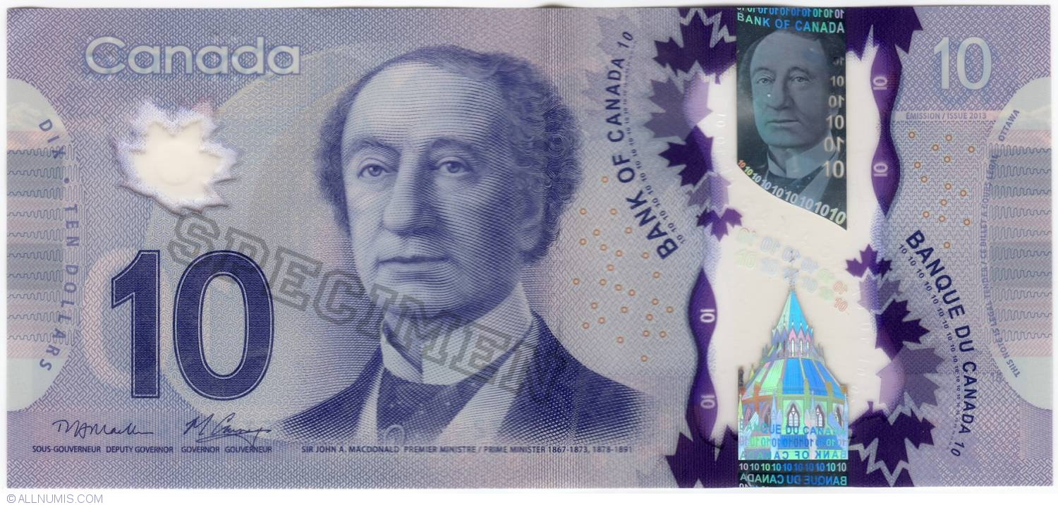 Banknote Of 10 Dollars 2013 Specimen From Canada Id 5384