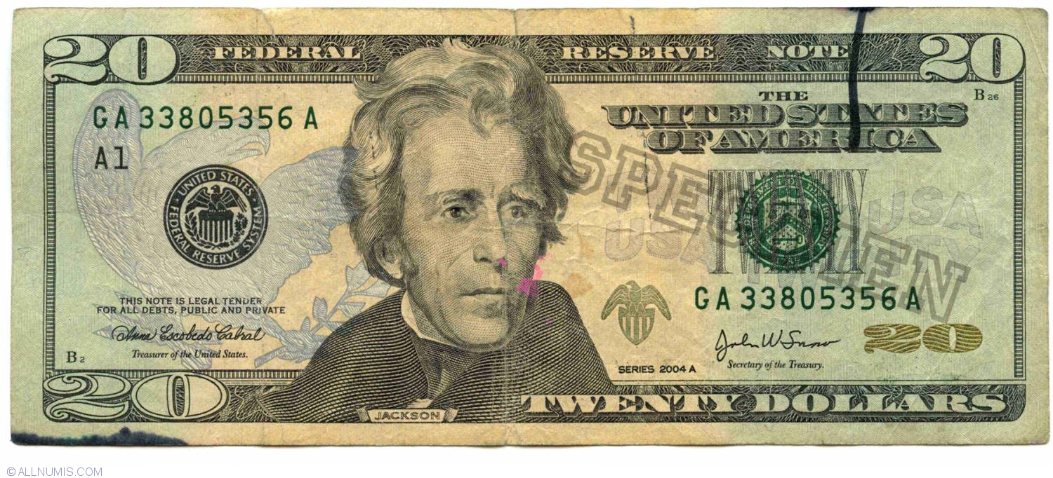 20 Dollars 2004a A1 Specimen 2004 Series United