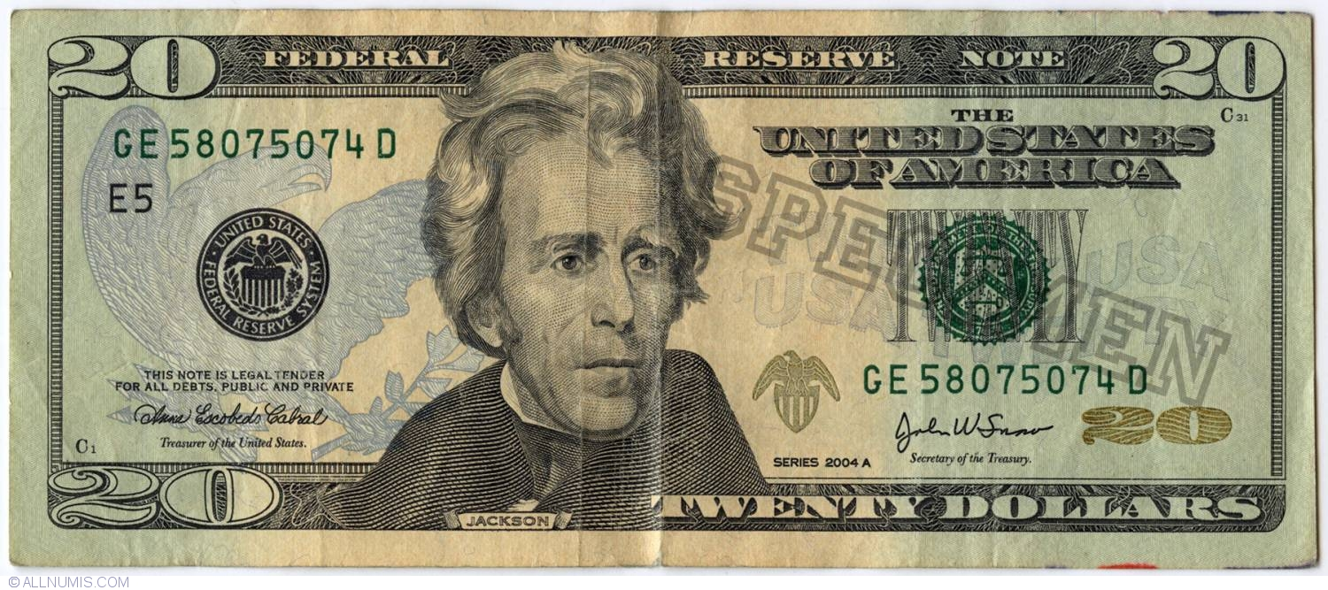 20 Dollars 2004a E5 2004 Issue 20 Dollars United States Of