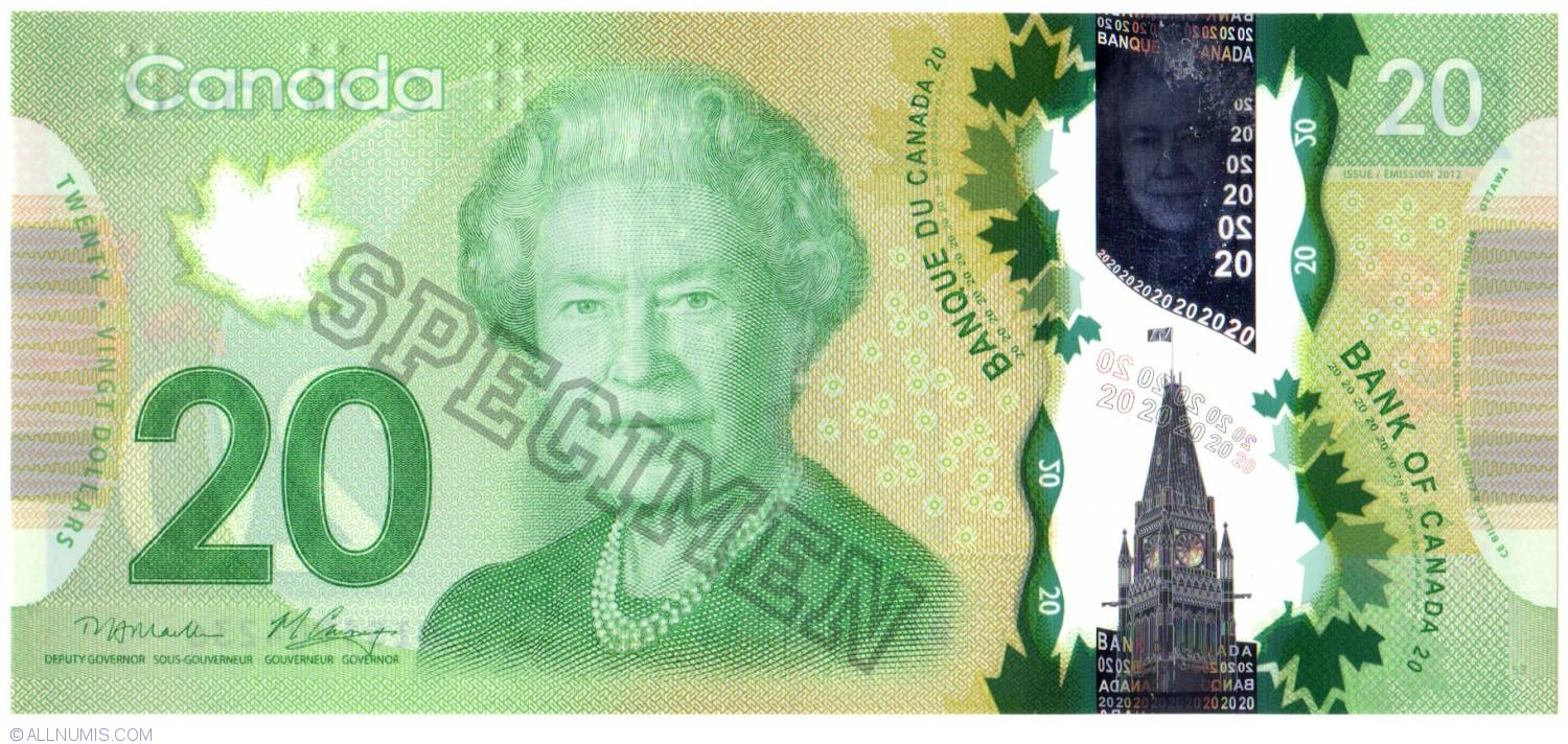 20 Dollars 2012 2011 To 2013 Issues Canada Banknote