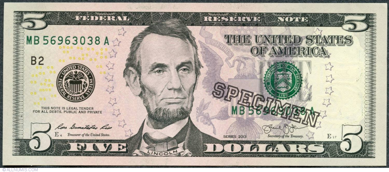 5 Dollars 2017 B