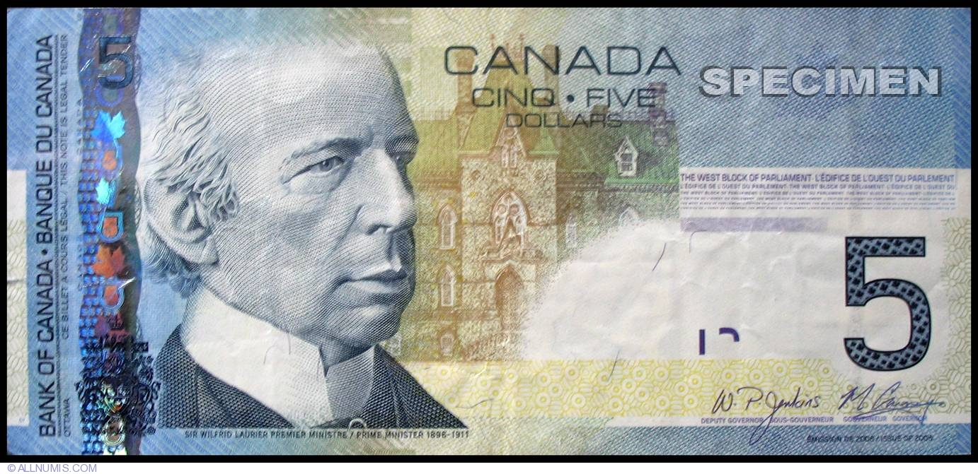 5 Canadian Dollars 2008 2001 2008 Issue Canada