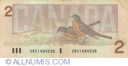 2 Dollars 1986 - signatures Thiessen-Crow