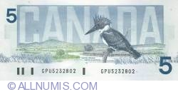 Image #2 of 5 Dollars 1986 - signatures Bonin-Thiessen
