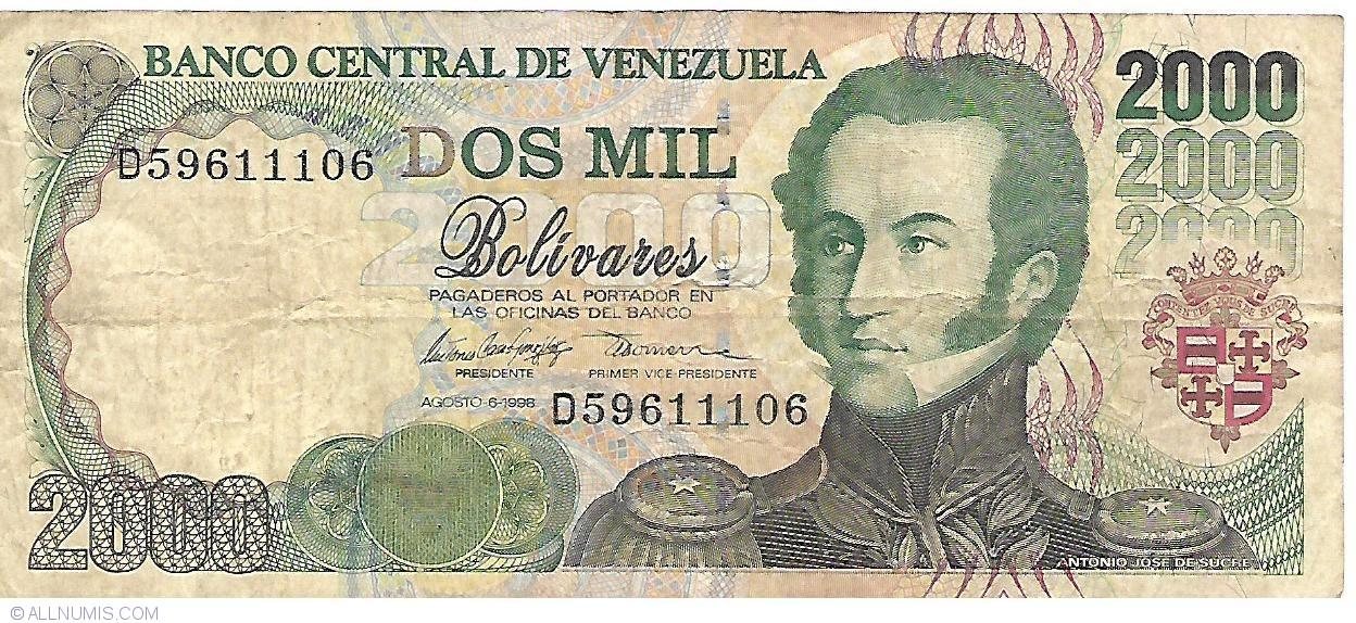 1998 Venezuela 2000 2,000 Bolivares P-80 UNC
