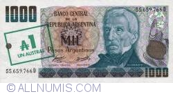 Image #1 of 1 Austral ND (1985) -  On 1 000 Pesos Argentinos (Serie D) ND (1984 - 1985)