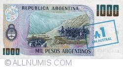 Image #2 of 1 Austral ND (1985) -  On 1 000 Pesos Argentinos (Serie D) ND (1984 - 1985)