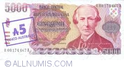 Image #1 of 5 Australes ND (1985) - On replacement note 5 000 Pesos Argentinos ND (1984 - 1985)