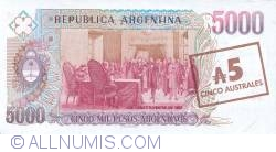 Imaginea #2 a 5 Australes ND (1985) - On replacement note 5 000 Pesos Argentinos ND (1984 - 1985)