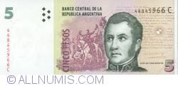 Image #1 of 5 Pesos ND (2003) - signatures Alfonso Prat-Gay / Daniel Scioli