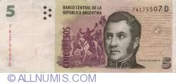 Image #1 of 5 Pesos ND (2003) - signatures Hernán Martín Pérez Redrado / Daniel Scioli