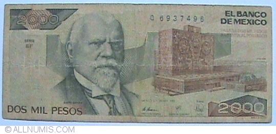 2000 Pesos 1989 28 Iii Serie Gf