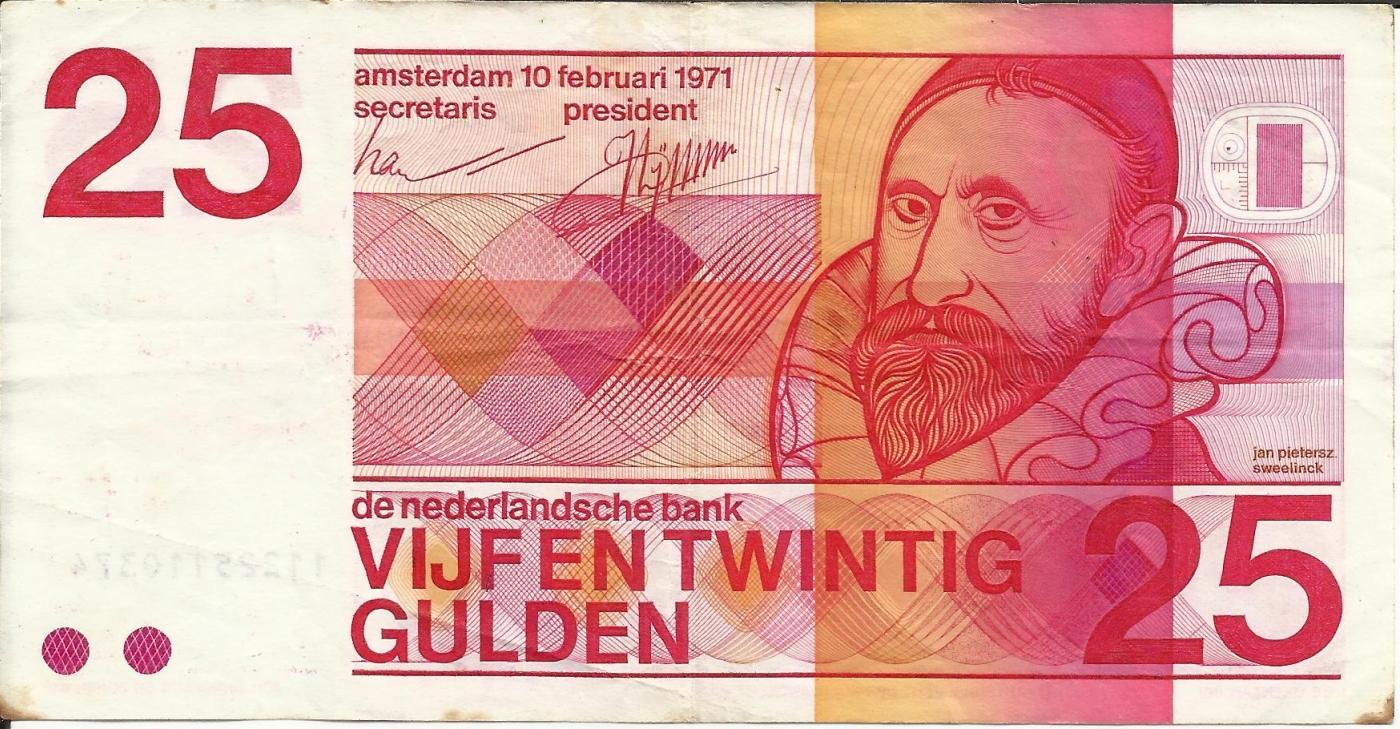 UNC P-92 Netherlands 25 Gulden 1971