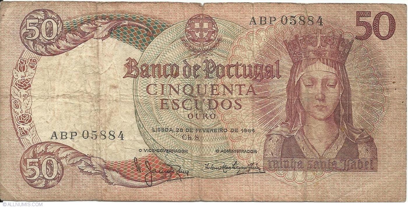 P 168 2 Banknote Note PORTUGAL P168 XF+ 2 50 ESCUDOS 1964