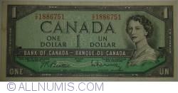 Imaginea #1 a 1 Dolar 1954 (1961-1972) - semnături Beattie - Rasminsky