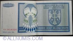 Bosnia Republika Srpska Inflation Banknote 10000000-10 Million Dinara 1993