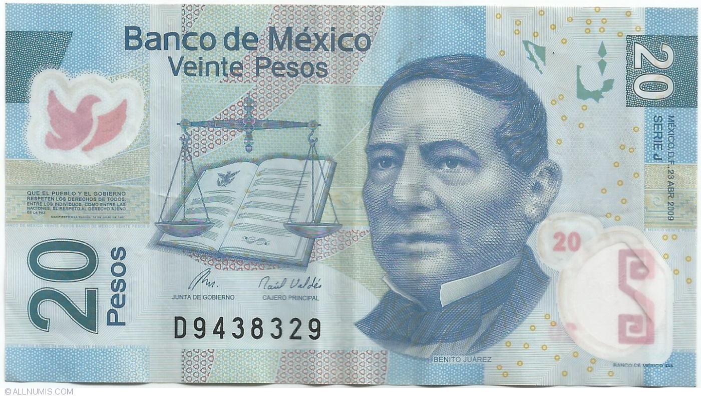 20 Pesos 2009 23 Iv Serie J 2002 2010 Polymer Issue