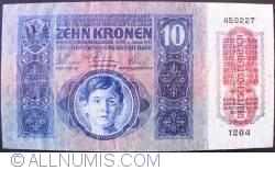 Imaginea #1 a 10 Kronen ND (1919 - pe vechea emisiune 2.I.1915)