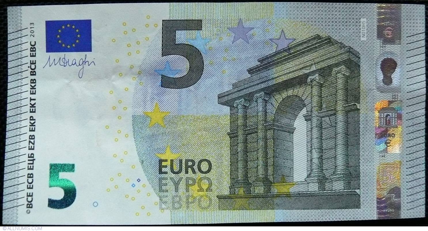 5 euro 2013 n 2013 issue 5 euro signature mario draghi european union banknote 5173. Black Bedroom Furniture Sets. Home Design Ideas