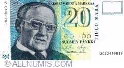 20 Markkaa 1993 - signatures: Holkeri/ Heinonen
