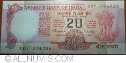 Imaginea #1 a 20 Rupees ND(1970-2002) - B - Semnătură R. N. Malhotra