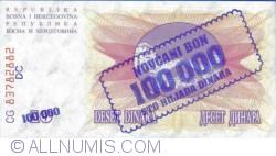 Imaginea #1 a 100 000 Dinari 1993 (10. XI.) (Supratipar pe emisiunea 10 Dinari 1992 (1. VII.) - P#10a)