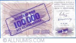 Imaginea #2 a 100 000 Dinari 1993 (10. XI.) (Supratipar pe emisiunea 10 Dinari 1992 (1. VII.) - P#10a)