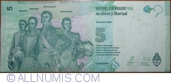 Imaginea #2 a 5 Pesos ND (2015) - semnături Alejandro Vanoli / Amado Boudou