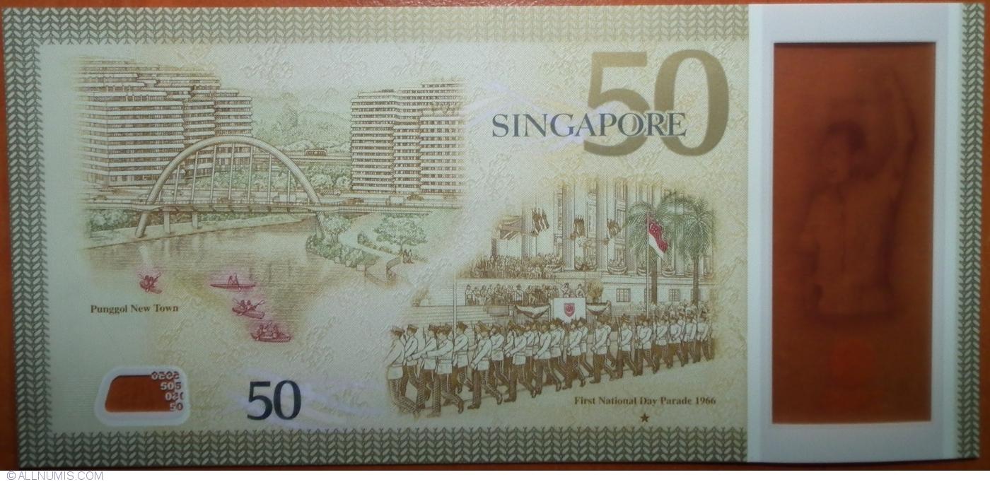 SINGAPORE 50 Dollars w//1 Star 2015 SG50 Commemorative P-61 Polymer UNC