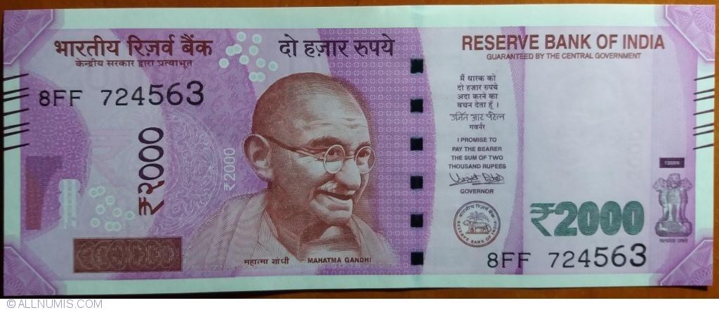 India 2000 2,000 Rupees New UNC Gandhi Urjit Patel Mangalyan Satellite Banknote