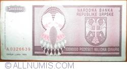 Imaginea #2 a 50 000 000 Dinari 1993