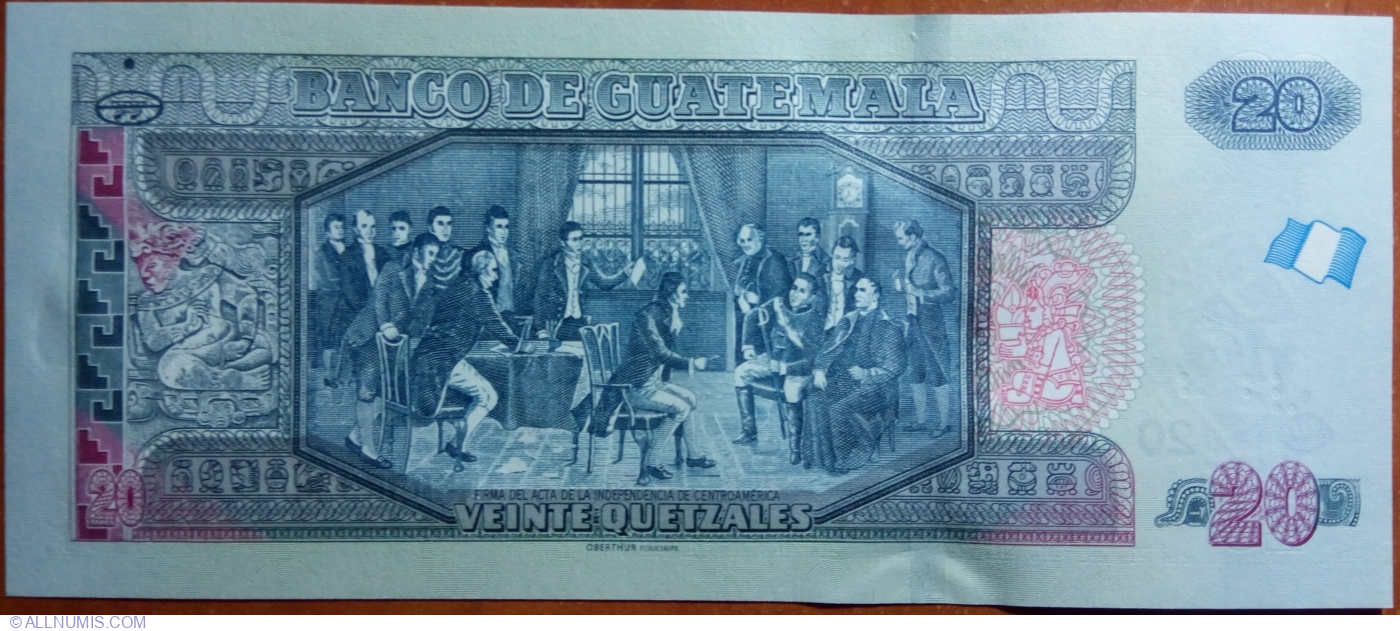 Guatemala 20 Quetzales p-124e 2015 UNC Banknote