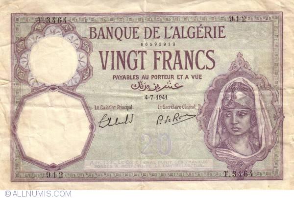 20 francs 1941 4 vii 1940 1943 issues banque de l for Banque exterieur d algerie