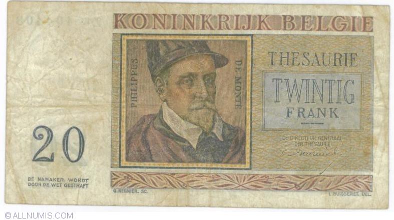 20 Francs 1956 3 Iv Treasury Notes 1948 1950 1956