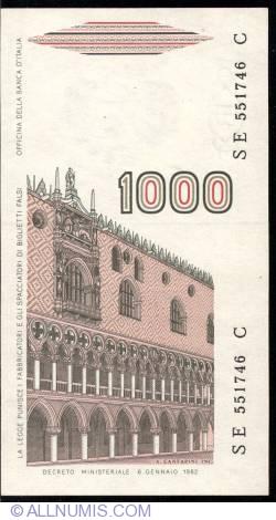 Image #2 of 1000 Lire D. 1982 - signatures Carlo Azeglio Ciampi / Fortunato Speziali
