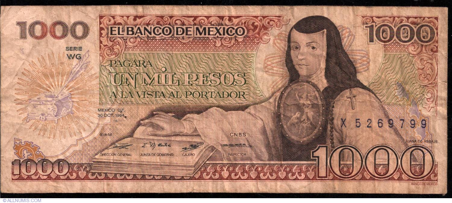 1000 pesos 1984 30 x 1983 1984 issue mexico banknote 3311. Black Bedroom Furniture Sets. Home Design Ideas