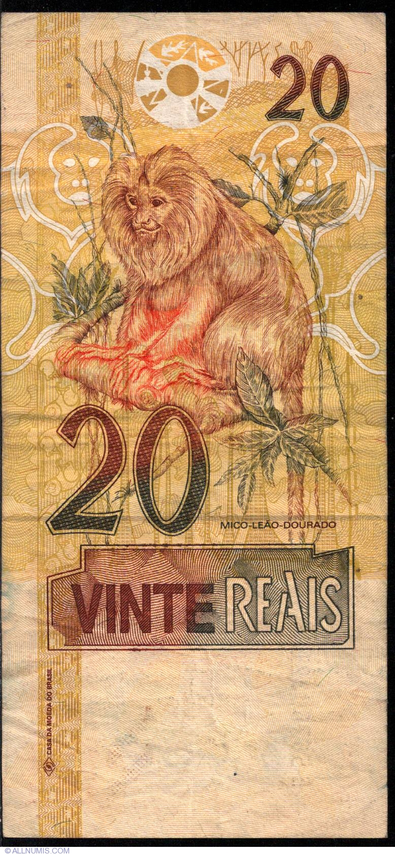 Banknote of 20 Reais ND (2002) from Brazil - ID 3265