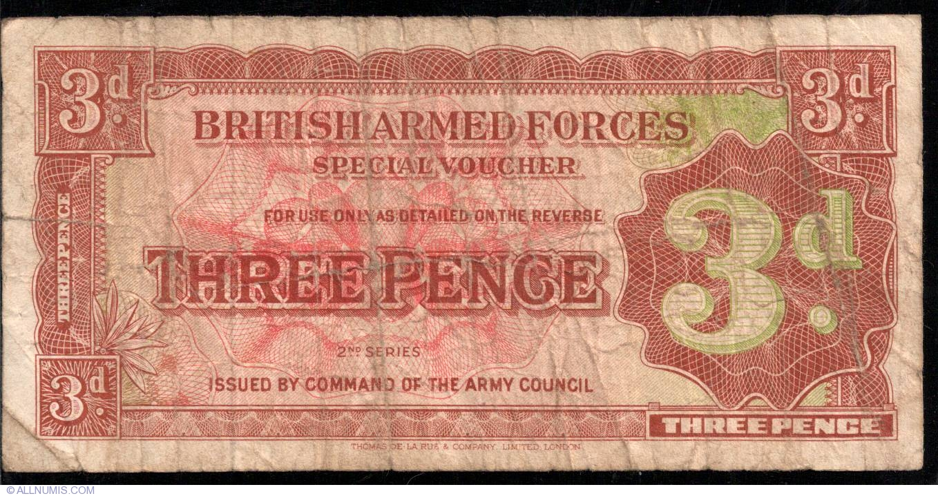3 Pence Nd 1948 British Armed Forces Special Vouchers 2nd Voucher Three