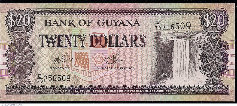 Banknote Cat# P.30f 2009 Guyana 20 Dollars UNC ND